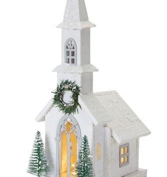 Light Up Wooden Winter Church