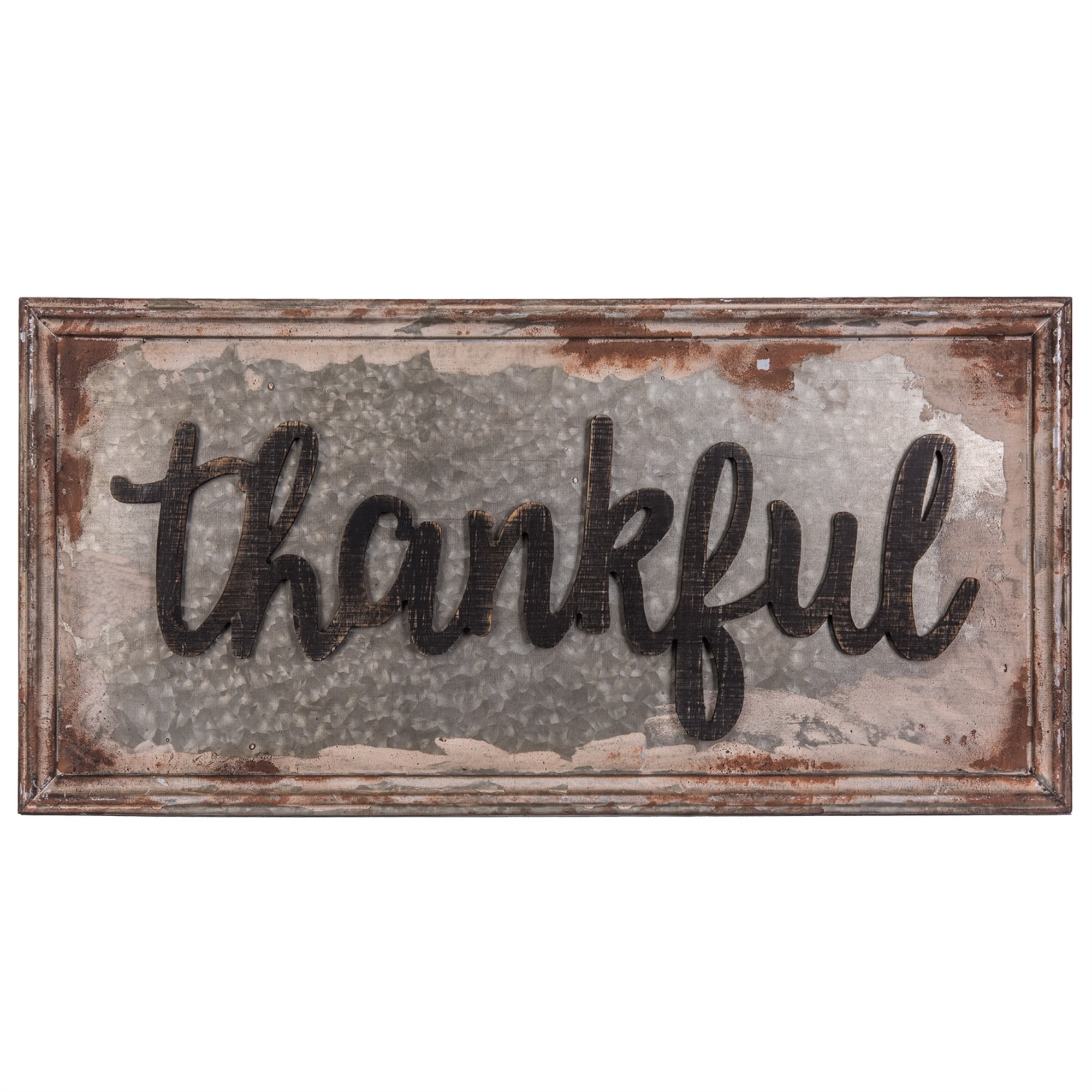 Large Antiqued Metal Thankful Sign