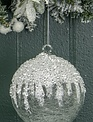 Large Ice Capped Spun Glass Ornament