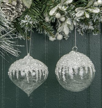 Small Ice Capped Spun Glass  Ornament (2 Styles)