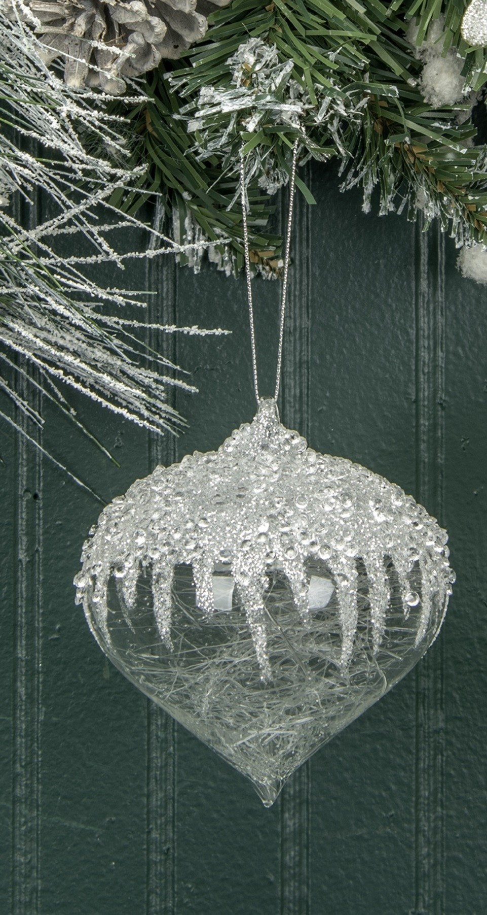 Small Ice Capped Spun Glass Ornament