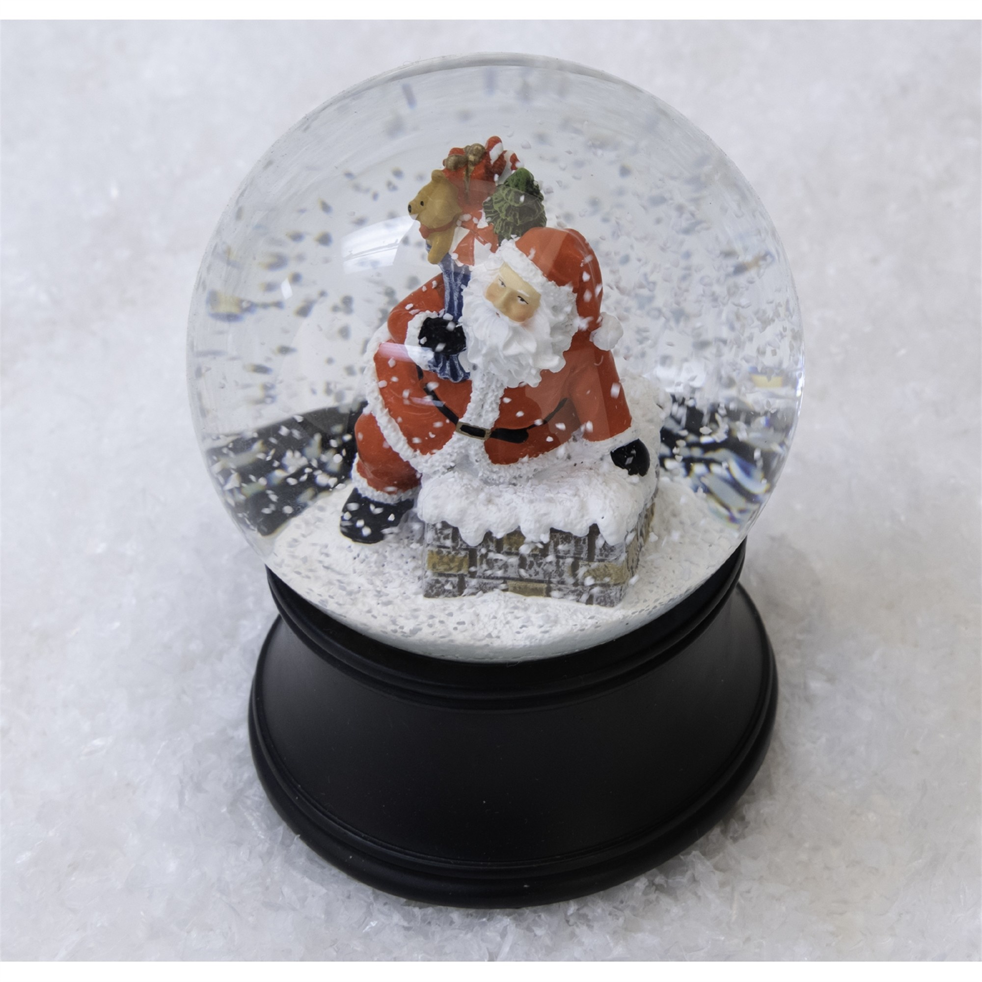 Musical Santa on Chimney Snow Globe