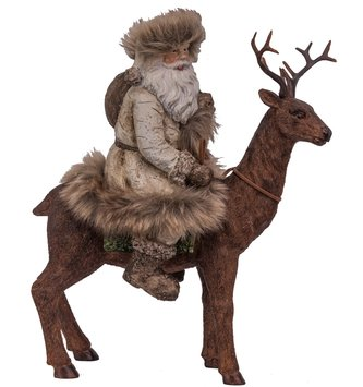 Birch Fur Coat Santa on Deer