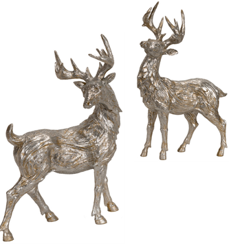 Set of 2 Silver Standing Deer