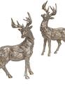 Set of 2 Silver Standing Deer