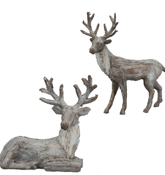 Set of 2 Frosted Bark Reindeer