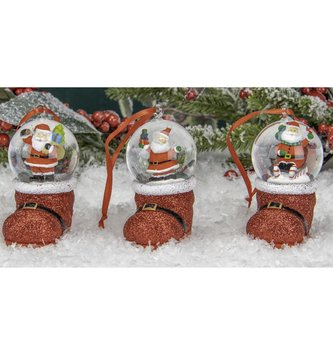 Santa Snow Globe Boot Ornament