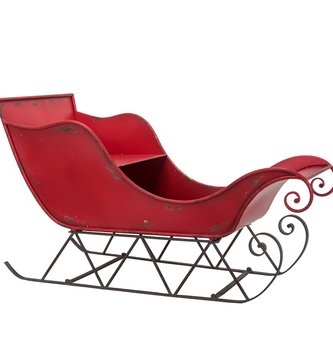 Large Antiqued Red Metal Sleigh