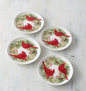 Set of 4 Cottage Christmas Plates