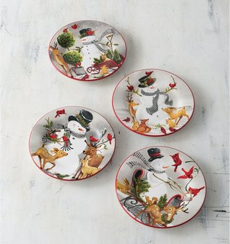 Set of 4 Frosty and Friends Plates