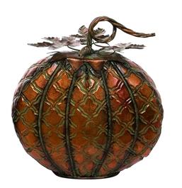 Patterned Orange Metal Pumpkin