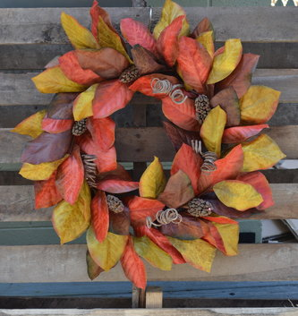 Fall Magnolia Wreath with Buds