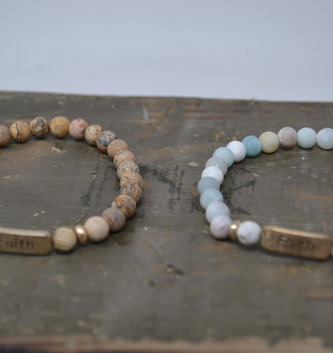 Multi Stone Faith Bracelet (2 Colors)