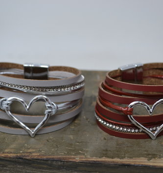 Heart Multi Strand Bracelet (2- Colors)