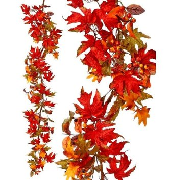5-ft Harvest Leaf & Berry Garland
