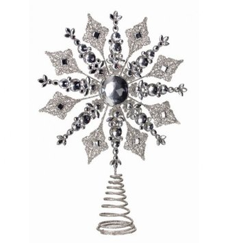 "14.5"" Jeweled Glitter Snowflake Tree Topper"