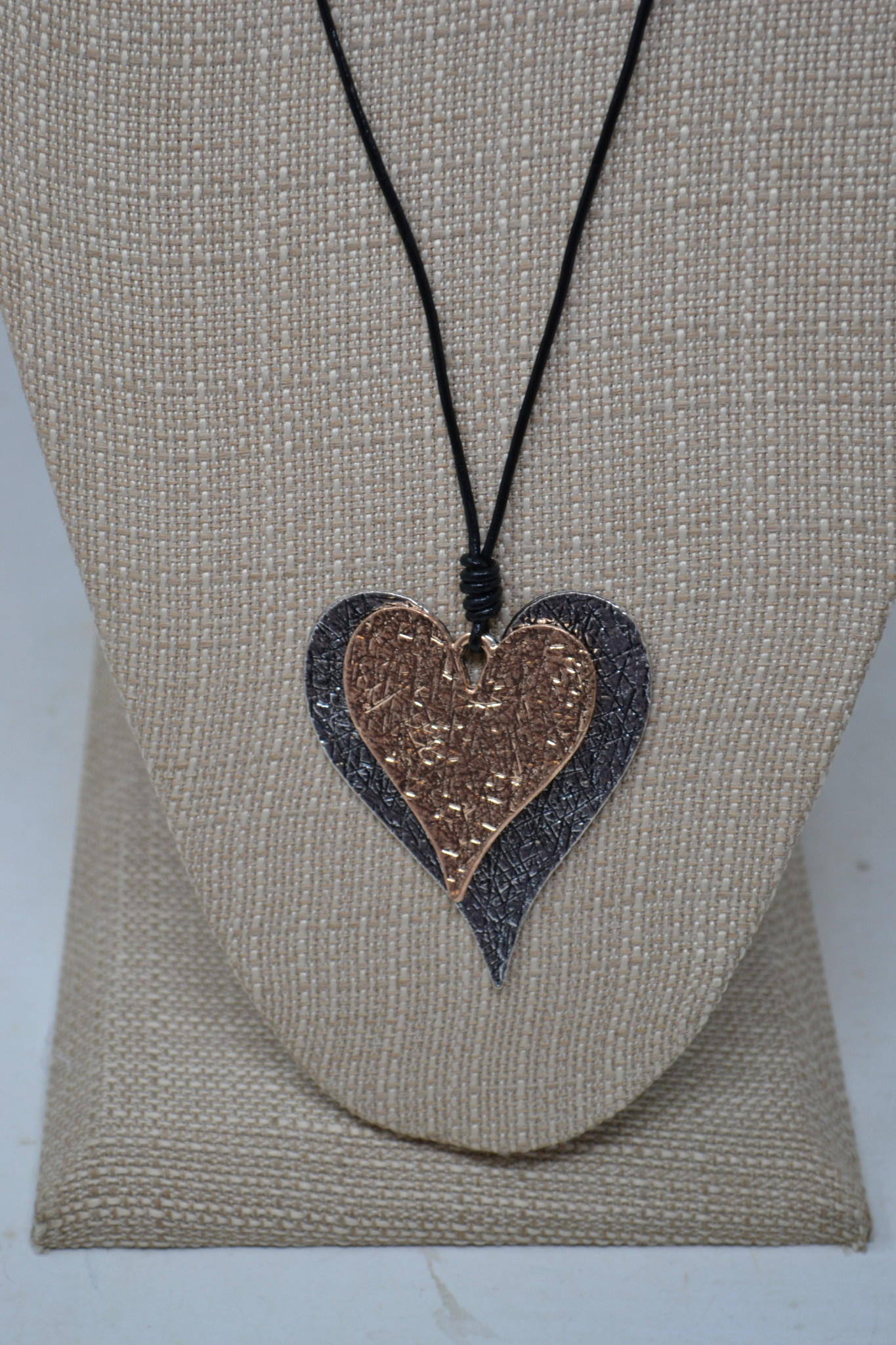 Textured Double Heart Necklace