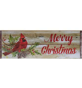Merry Christmas Glitter Cardinal Plaque