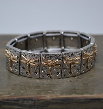 Gold & Silver Dragonfly Stretch Bracelet