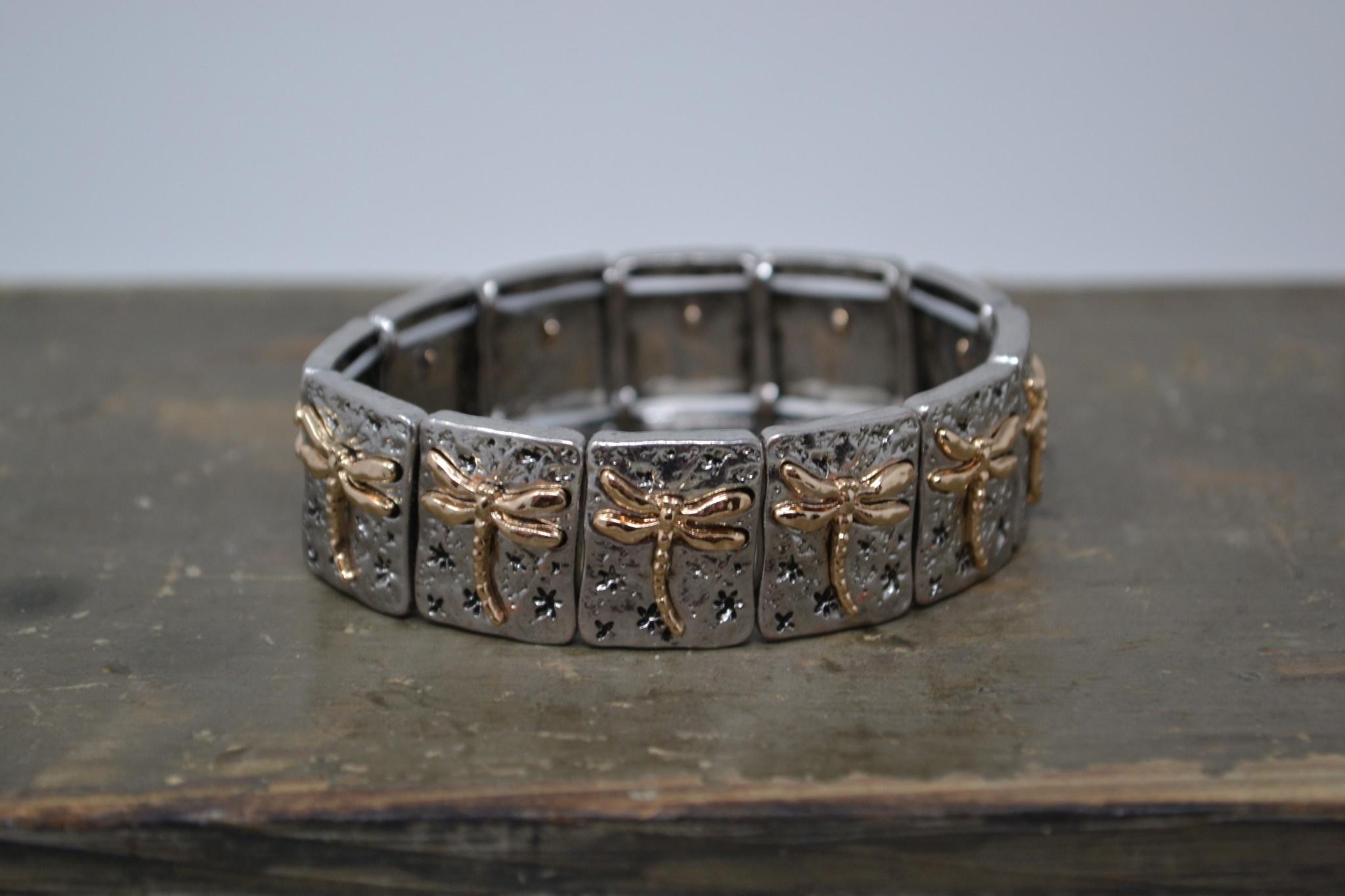 Gold & Silver Dragonfly Stretch Bracelet