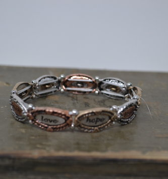 Faith Love Hope Mixed Metal Bracelet