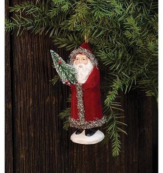Vintage Velvet Santa Ornament
