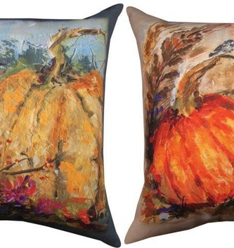 Two Chickadees on Pumpkin Pillow
