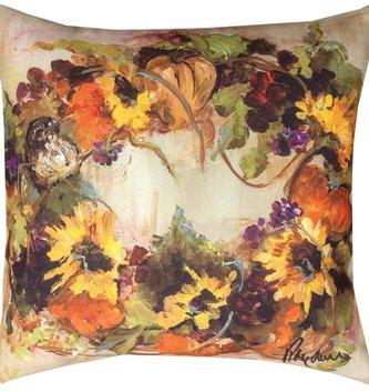 Sunflower Wreath Pillow Indoor/Outdoor