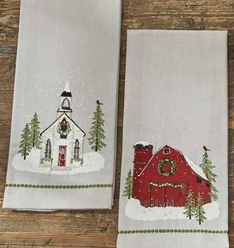 Embroidered Christmas Scene Towel