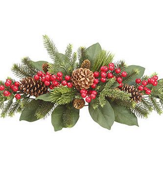 "32"" Mixed Pine Berry Greenery Centerpiece"