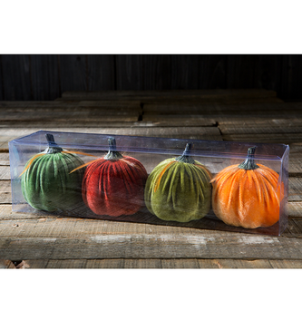 Set of 4 Velvet Pumpkins