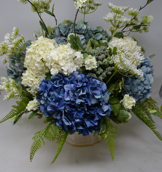 Custom Elegant Blue and White Hydrangea Arrangement