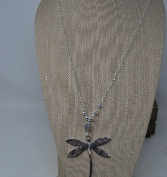 Dragonfly w/ Gray Bead Necklace