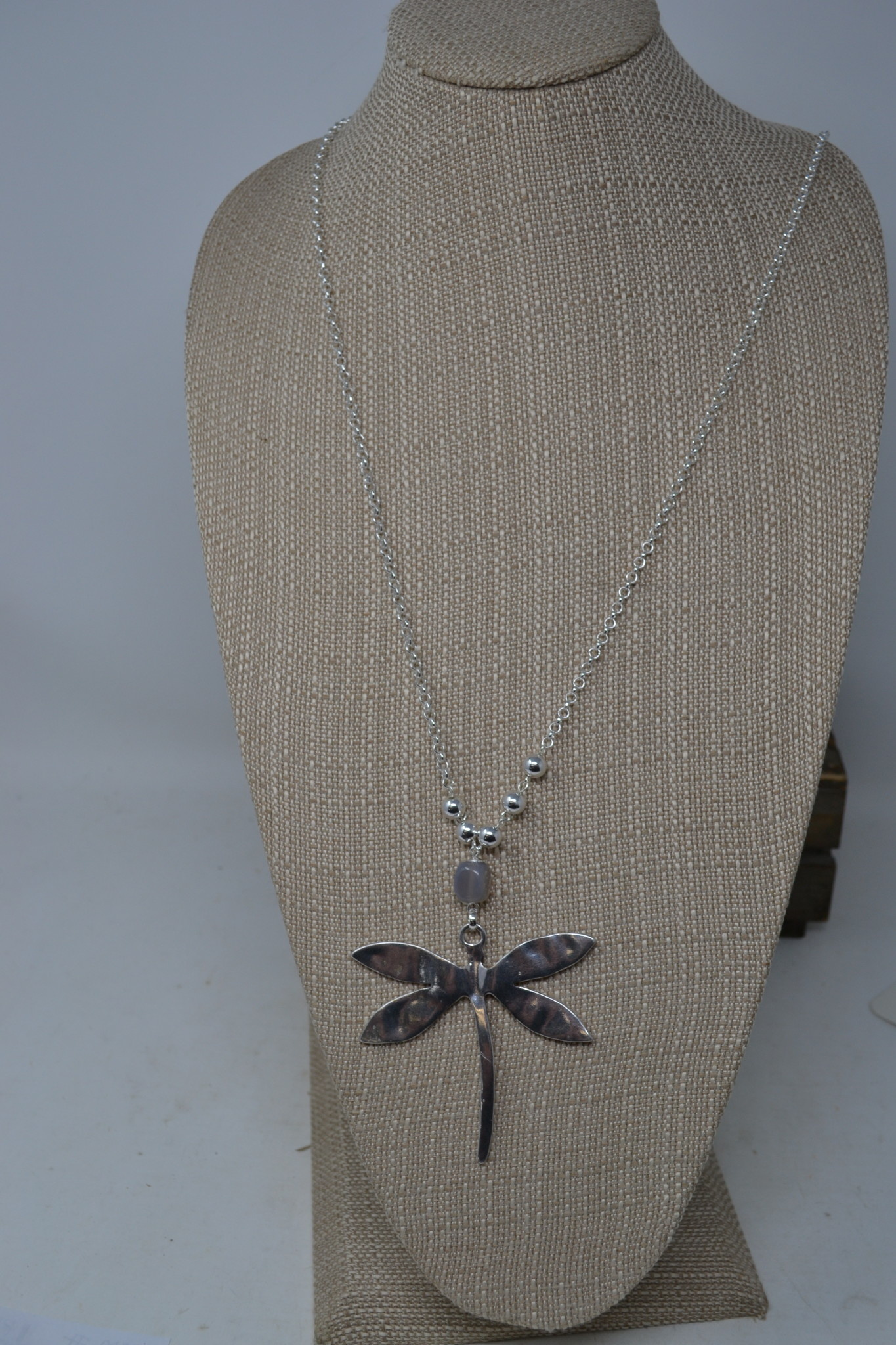 Dragonfly with Gray Bead Necklace