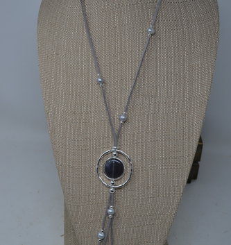 Circular Gray Stone Leather Necklace