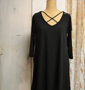 Black Criss Cross Swing Tunic