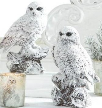 Set of 2 Shimmer Snowy Owls