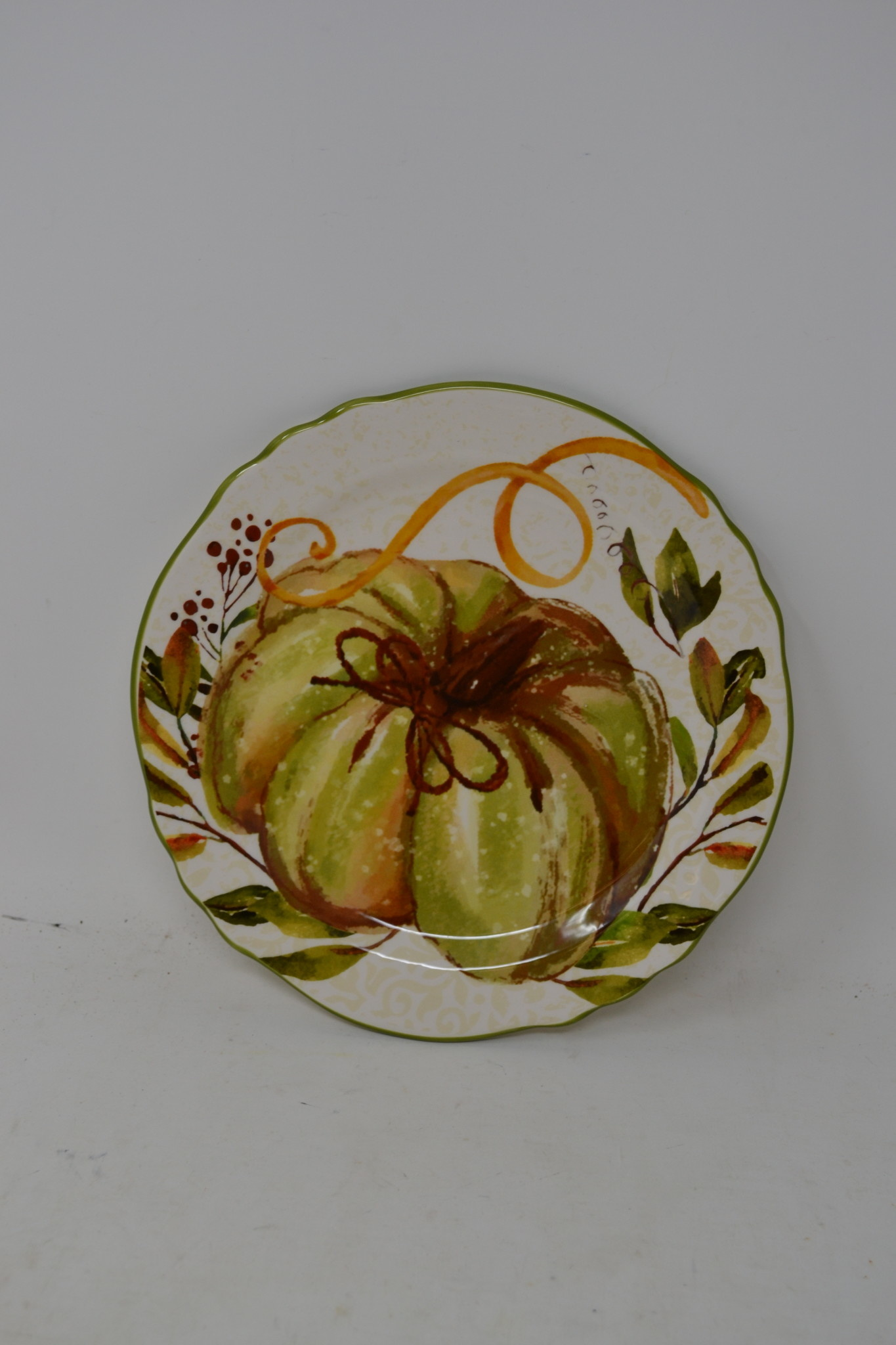 Round Green Pumpkin Plate