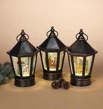 LED Bronze Holiday Musical Snow Globe Lantern (3 Styles)