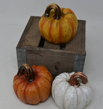 Small Carved Resin Pumpkin (3-Colors)