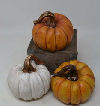Large Carved Resin Pumpkin (3 Colors)