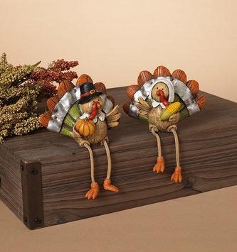 Woodgrain Mr. & Mrs. Turkey Shelf Sitters