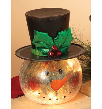 Small Lighted Crackle Snowman Head