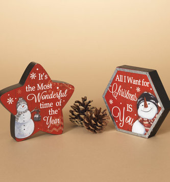 Red Snowman Message Sign (2 Styles)