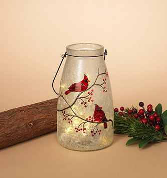 Battery Operated LED Cardinal Frosted Vase