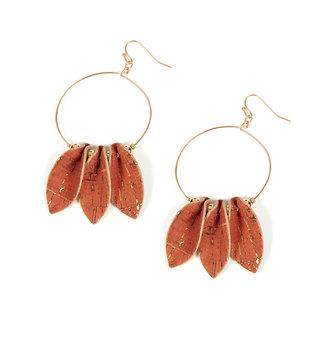 Triple Cork Leaf Earrings