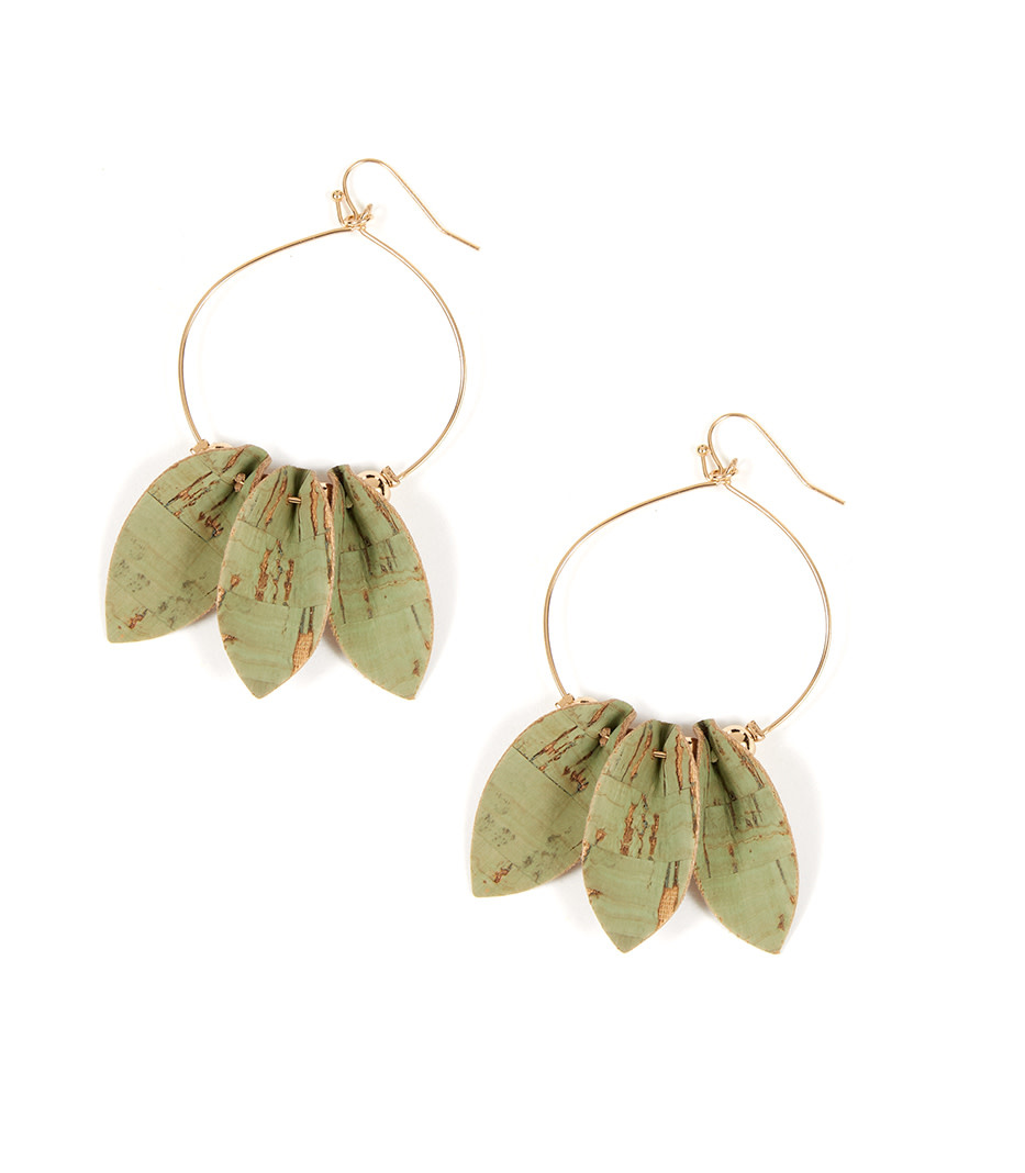 Triple Cork Leaf Earrings