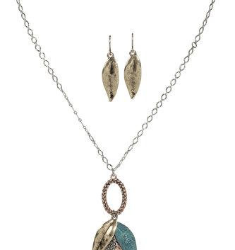 Vintage Mixed Metal Leaf Necklace/Earring Set