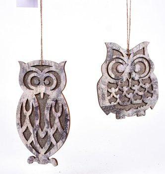 Shimmer Birch Owl Ornament (2 Styles)