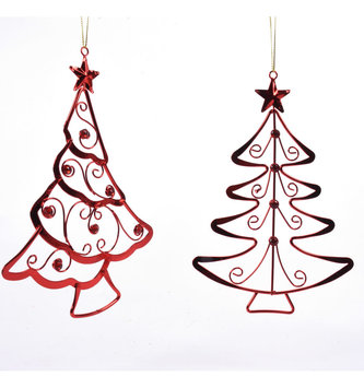 Red Jeweled Metal Tree Ornament (2 Styles)
